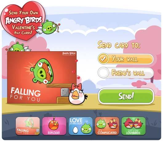 Photo of Felicita San Valentín con una tarjeta de Angry Birds