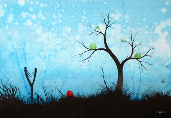 cuadro angry birds 2 Un pintor se inspira en el juego Angry Birds para realizar uno de sus cuadros