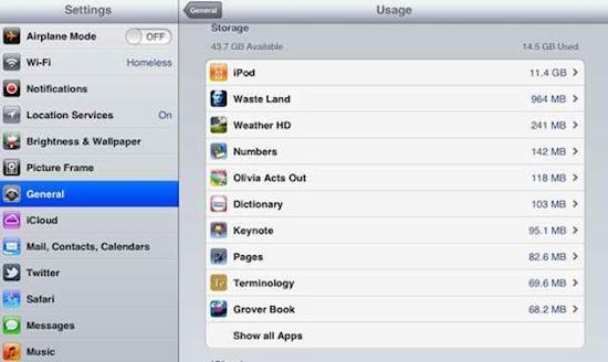 Photo of iOS 5 nos informa de la cantidad de memoria que ocupa cada aplicación