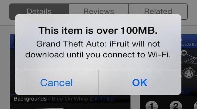 App Store iOS 7 100MB
