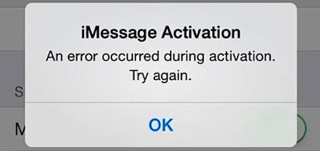 Error iMessage Activacion