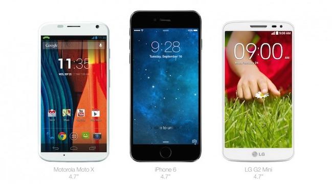 iPhone 6 Comparativa VS Motorola Moto X y LG G2 Mini