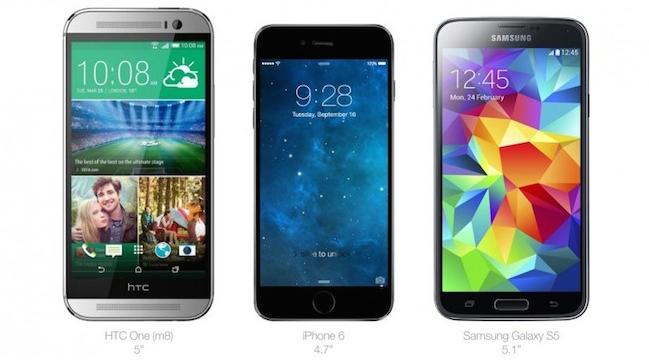 iPhone 6 vs HTC One y Samsung Galaxy S5