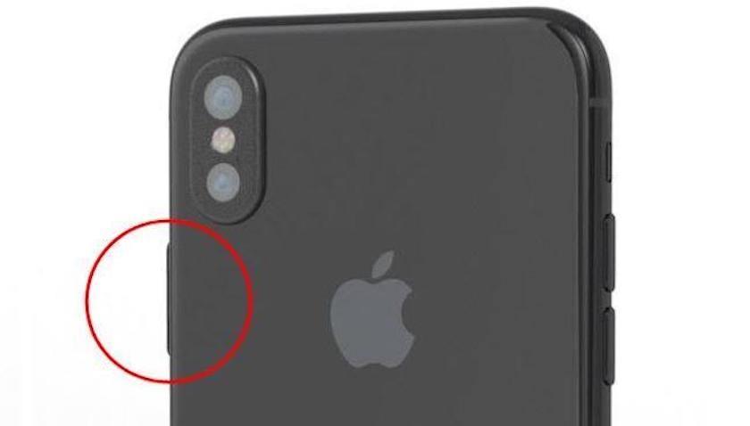 Detalle Botón Lateral Render del Nuevo iPhone 8 de Apple en Color Negro